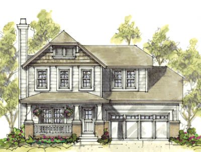Craftsman Exterior - Front Elevation Plan #20-1217