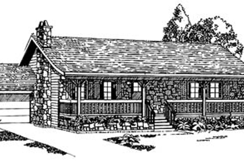 Ranch Style House Plan - 3 Beds 1 Baths 1360 Sq/Ft Plan #47-120 Exterior - Front Elevation