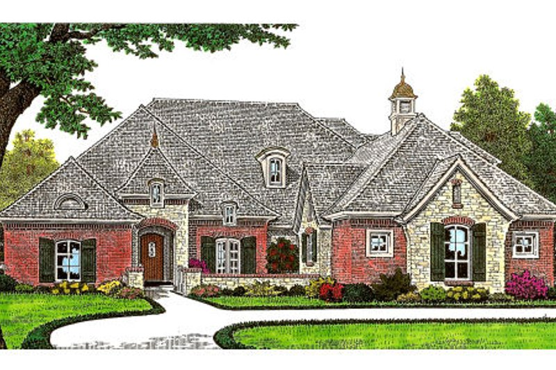 European Style House Plan - 3 Beds 2.5 Baths 2900 Sq/Ft Plan #310-669 Exterior - Front Elevation