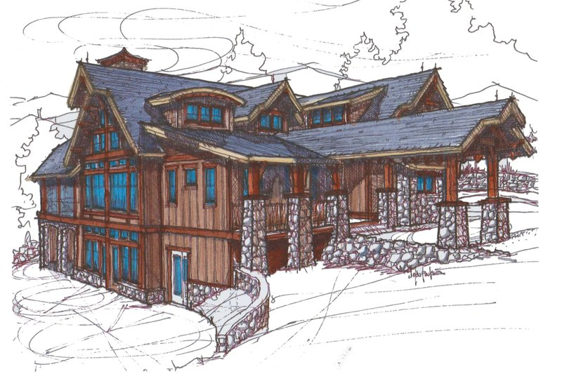 Craftsman Style House Plan - 5 Beds 6.5 Baths 5039 Sq/Ft Plan #921-3 Exterior - Front Elevation