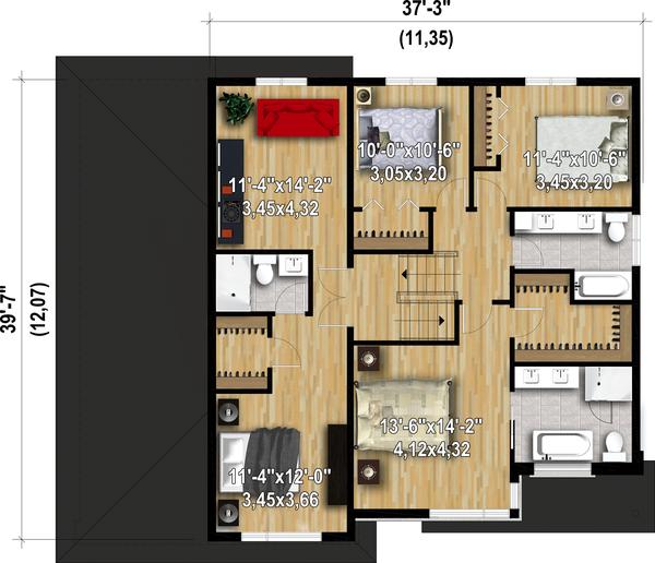 Dream House Plan - Contemporary Floor Plan - Upper Floor Plan #25-4906