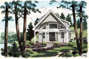 Cottage Style House Plan - 2 Beds 2 Baths 1093 Sq/Ft Plan #312-619 Exterior - Front Elevation