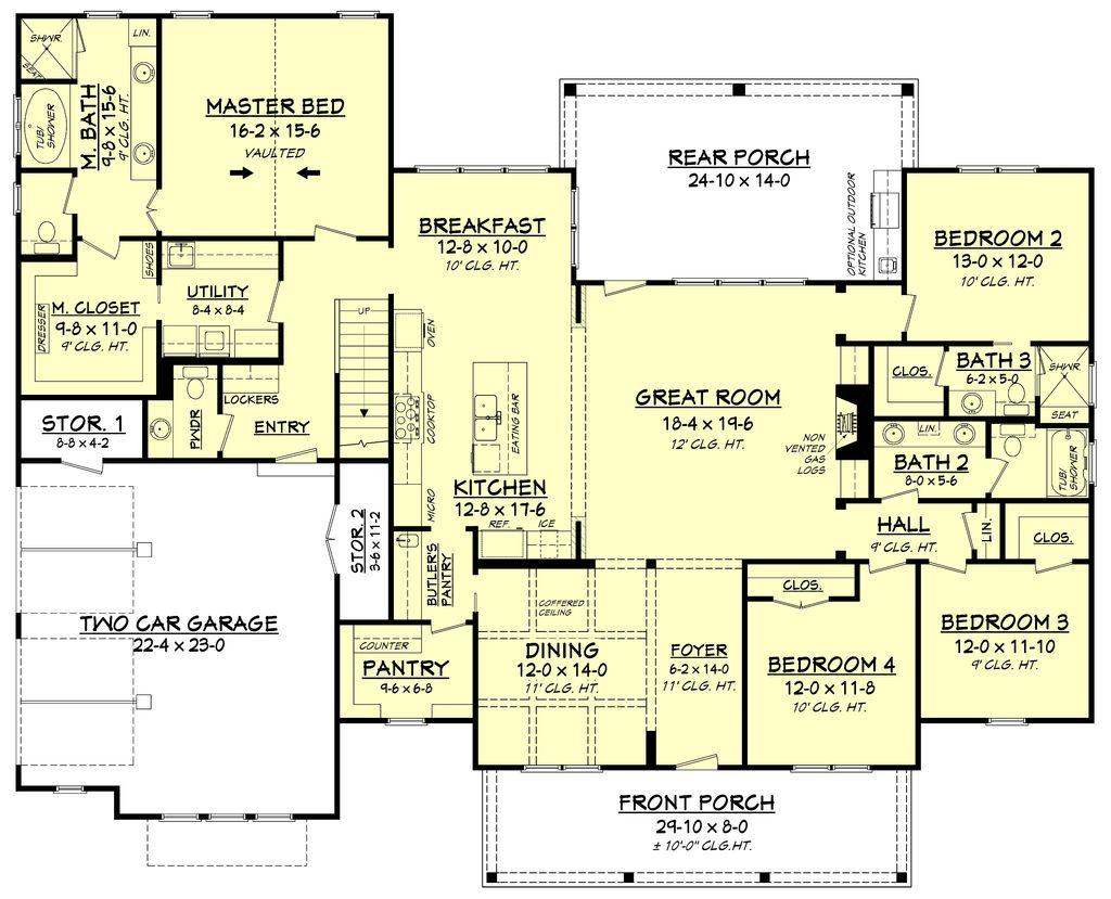 Farmhouse style house plan 4 beds 3 5 baths 2742 sq ft plan 430