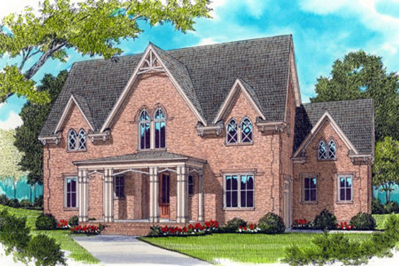 Colonial Style House Plan - 4 Beds 3.5 Baths 4239 Sq/Ft Plan #413-825 Exterior - Front Elevation