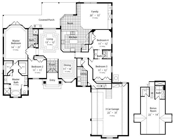 European Floor Plan - Main Floor Plan Plan #417-329