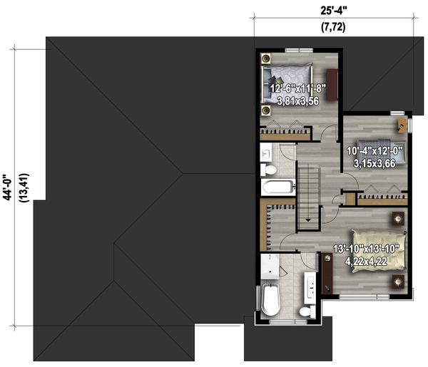 Contemporary Floor Plan - Upper Floor Plan Plan #25-4609