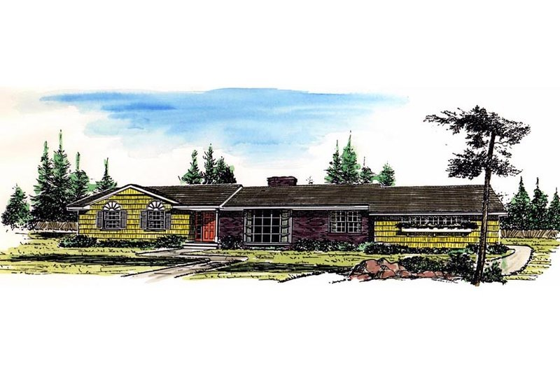 Ranch Style House Plan - 3 Beds 2.5 Baths 2259 Sq/Ft Plan #315-110 Exterior - Front Elevation