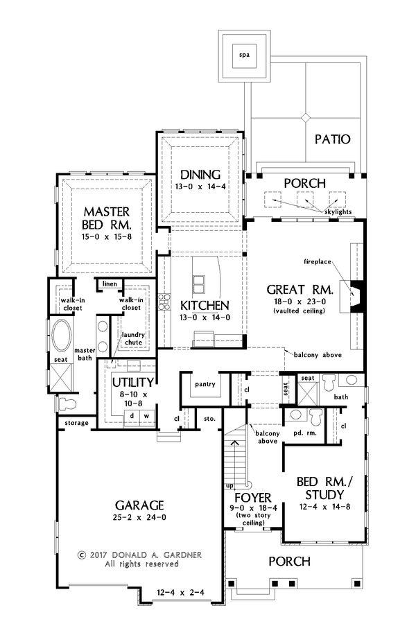 Craftsman Floor Plan - Main Floor Plan Plan #929-1031