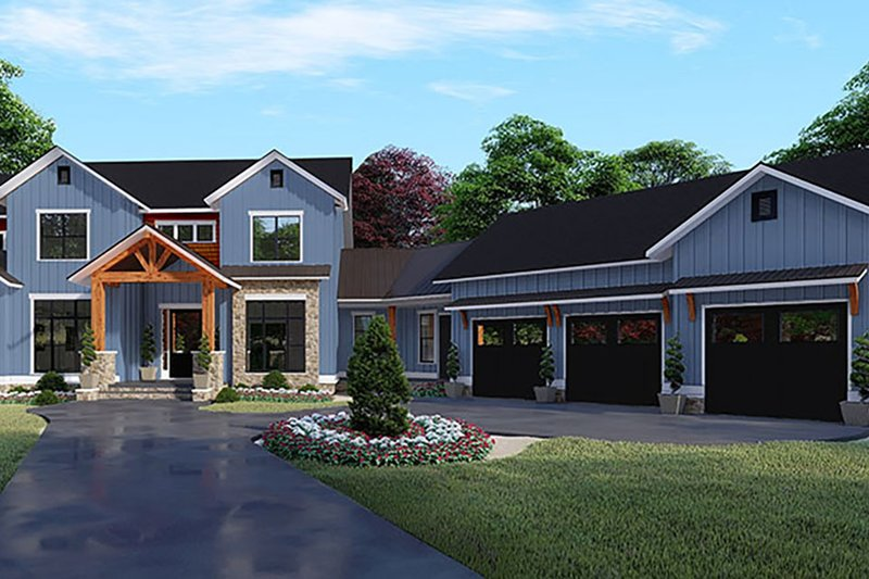 Craftsman Style House Plan - 5 Beds 5.5 Baths 4140 Sq/Ft Plan #17-3423 Exterior - Front Elevation