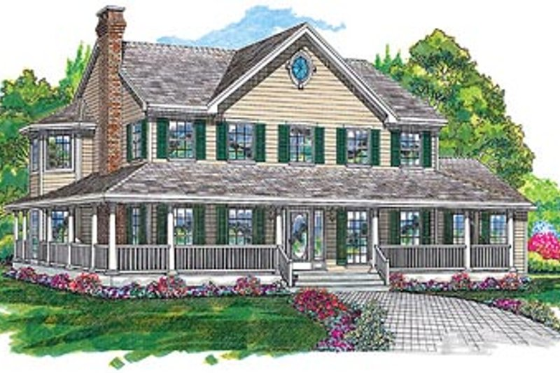 Country Style House Plan - 4 Beds 3 Baths 2582 Sq/Ft Plan #47-192 Exterior - Front Elevation