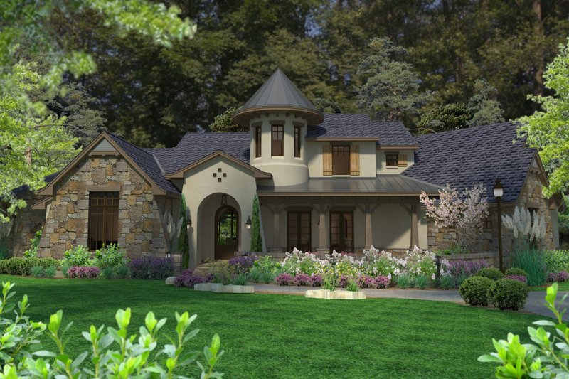 European Exterior - Front Elevation Plan #120-185 - Houseplans.com