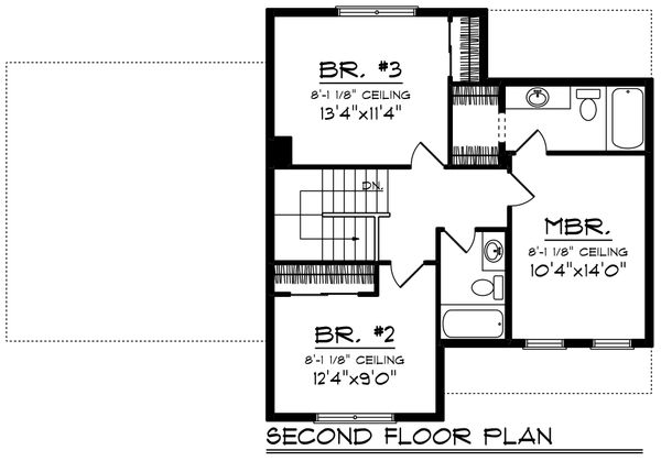 Craftsman Floor Plan - Upper Floor Plan Plan #70-1411