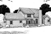 Country Style House Plan - 3 Beds 2.5 Baths 2044 Sq/Ft Plan #312-573 Exterior - Rear Elevation