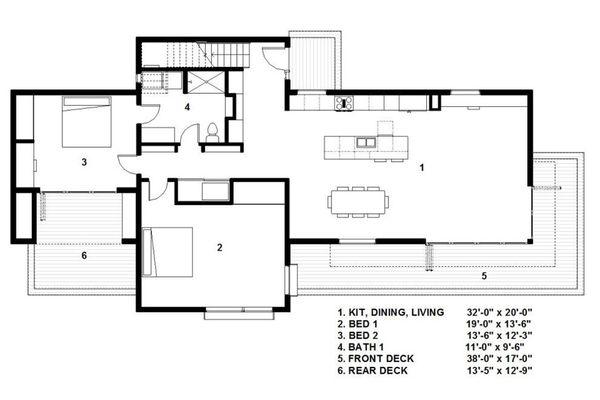 Modern Floor Plan - Main Floor Plan Plan #497-54