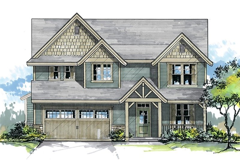 Craftsman Style House Plan - 4 Beds 2.5 Baths 2248 Sq/Ft Plan #53-451 Exterior - Front Elevation