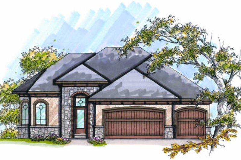 European Exterior - Front Elevation Plan #70-992