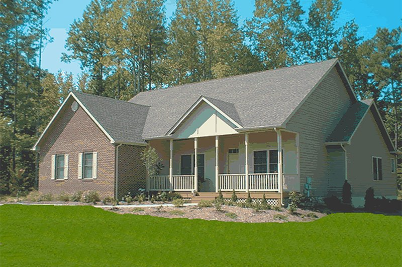 Traditional Style House Plan - 4 Beds 2 Baths 1958 Sq/Ft Plan #20-379 Exterior - Front Elevation