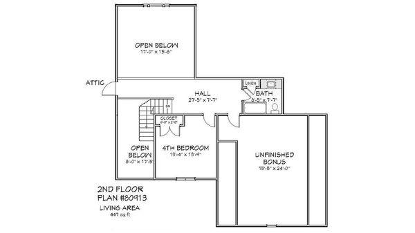 Traditional Floor Plan - Upper Floor Plan Plan #898-1