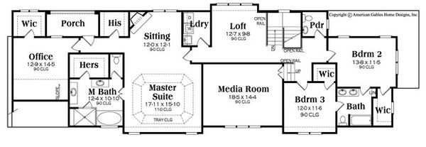 Craftsman Floor Plan - Lower Floor Plan Plan #419-285