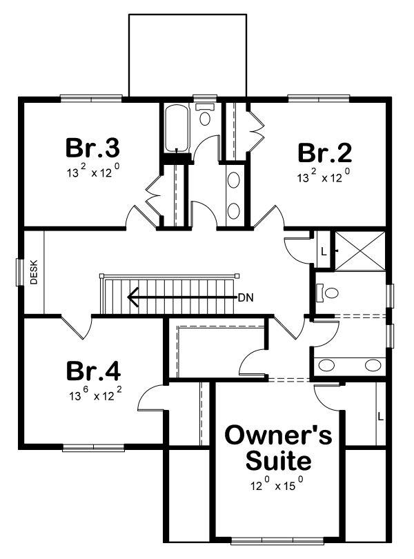 Home Plan - Traditional Floor Plan - Upper Floor Plan #20-2346