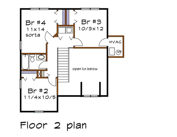 Country Floor Plan - Upper Floor Plan #79-180