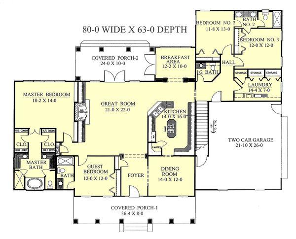 Southern Floor Plan - Main Floor Plan Plan #44-118