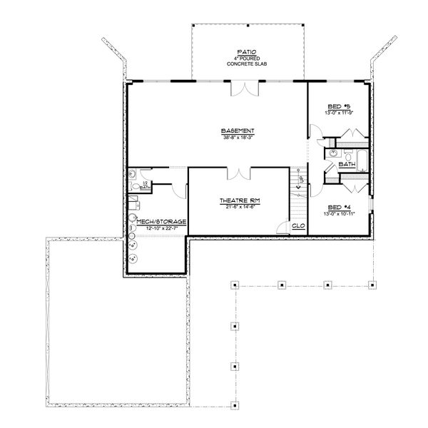 Architectural House Design - Country Floor Plan - Lower Floor Plan #1064-94