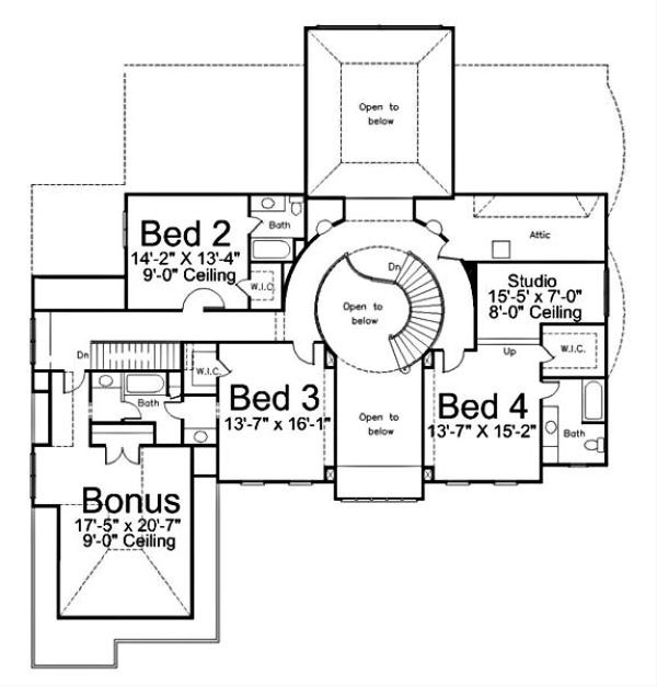 European Floor Plan - Upper Floor Plan #119-249