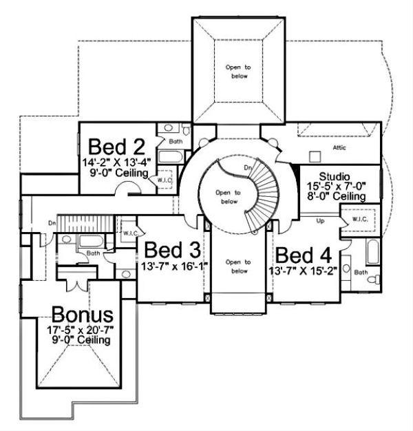 Architectural House Design - European Floor Plan - Upper Floor Plan #119-249