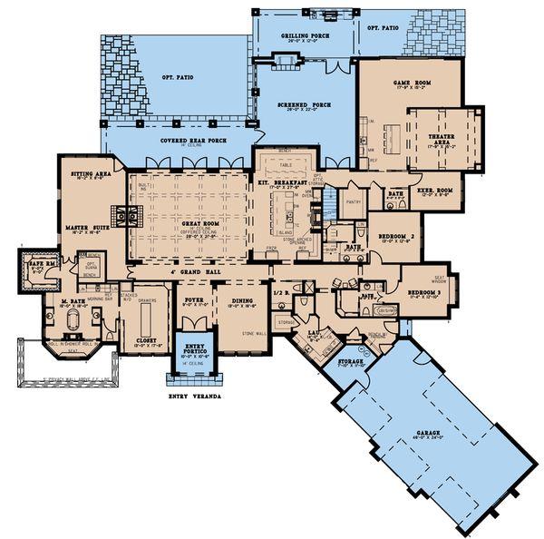 House Plan Design - European Floor Plan - Main Floor Plan #923-208