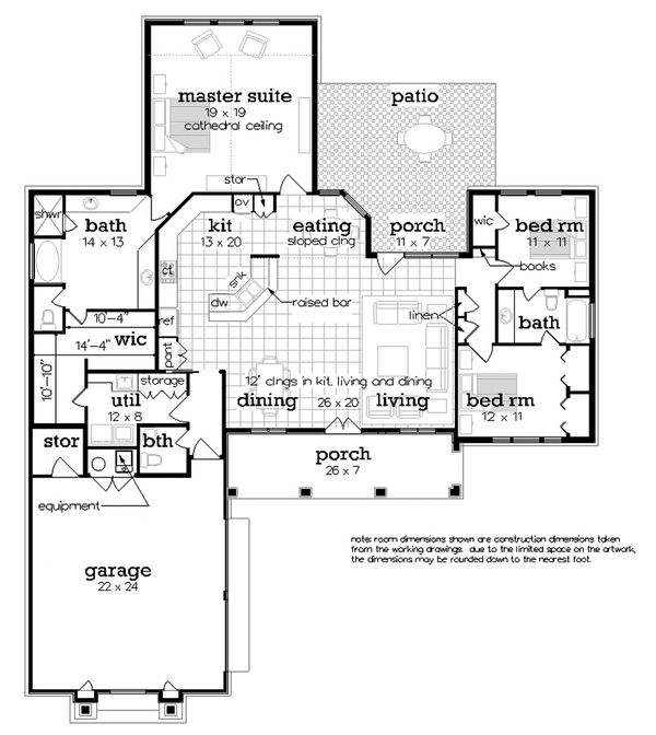 Home Plan - Ranch Floor Plan - Main Floor Plan #45-578