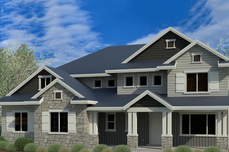 Craftsman Style House Plan - 4 Beds 3.5 Baths 2895 Sq/Ft Plan #920-4 Exterior - Front Elevation