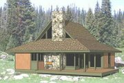 Country Style House Plan - 2 Beds 2 Baths 1018 Sq/Ft Plan #116-122 Exterior - Front Elevation
