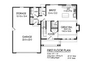 Traditional Style House Plan - 3 Beds 2.5 Baths 1672 Sq/Ft Plan #1010-236 Floor Plan - Main Floor Plan