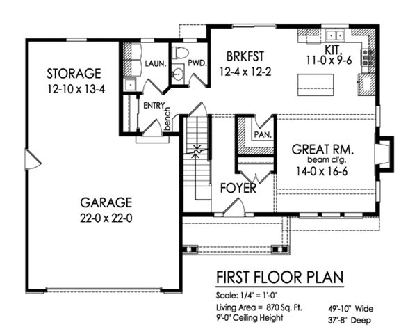 Traditional Floor Plan - Main Floor Plan Plan #1010-236