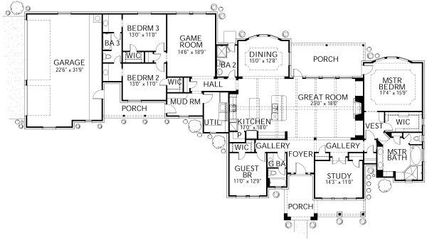 Traditional Floor Plan - Main Floor Plan Plan #80-191