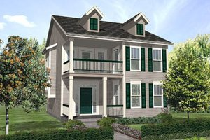 Southern Exterior - Front Elevation Plan #50-134