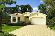 Mediterranean Style House Plan - 4 Beds 3 Baths 1902 Sq/Ft Plan #420-259 Exterior - Front Elevation