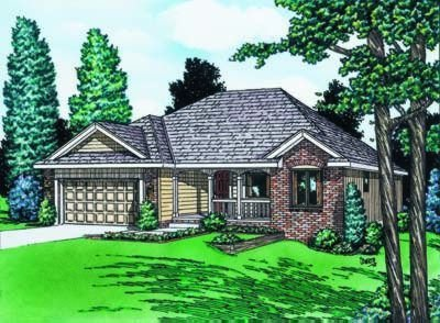 Traditional Exterior - Front Elevation Plan #20-425 - Houseplans.com