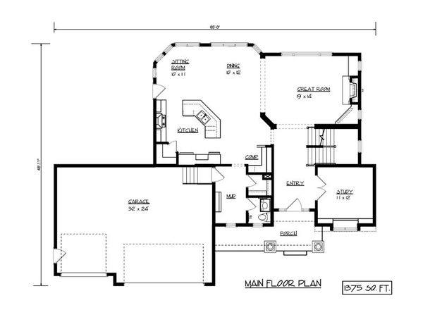 European Floor Plan - Main Floor Plan Plan #320-502