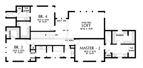 Craftsman Floor Plan - Upper Floor Plan Plan #48-1007