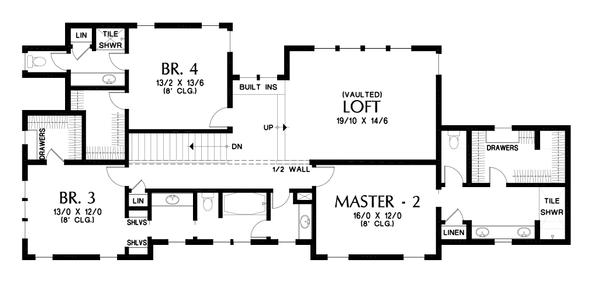 Home Plan - Craftsman Floor Plan - Upper Floor Plan #48-1007