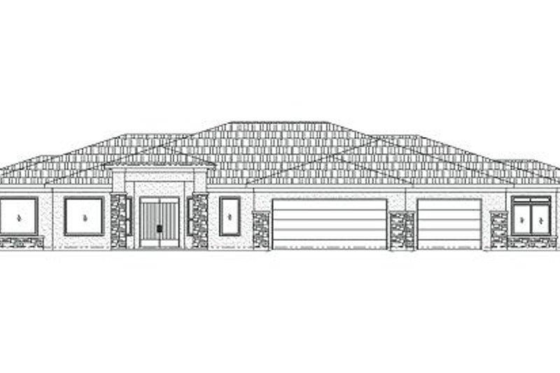 Adobe / Southwestern Style House Plan - 5 Beds 3.5 Baths 3633 Sq/Ft Plan #24-251