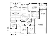 Craftsman Style House Plan - 3 Beds 2 Baths 2013 Sq/Ft Plan #48-292 Floor Plan - Main Floor