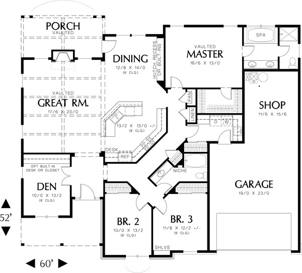 Main level floor plan  - 2000 square foot Craftsman home