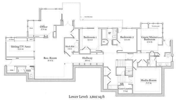 Craftsman Floor Plan - Lower Floor Plan Plan #454-14