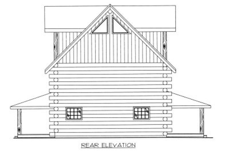 Log Exterior - Rear Elevation Plan #117-413 - Houseplans.com