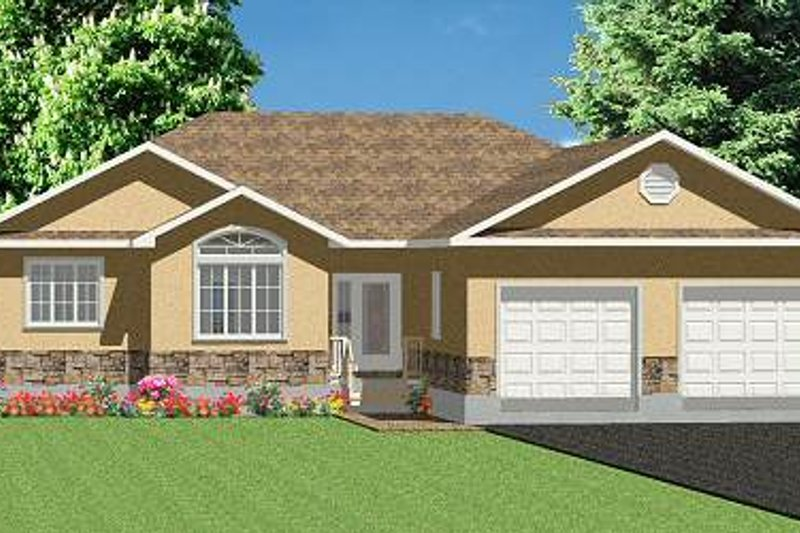 Ranch Style House Plan - 3 Beds 2.5 Baths 1749 Sq/Ft Plan #414-114 Exterior - Front Elevation