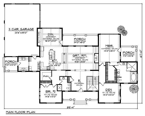 Traditional Floor Plan - Main Floor Plan Plan #70-855