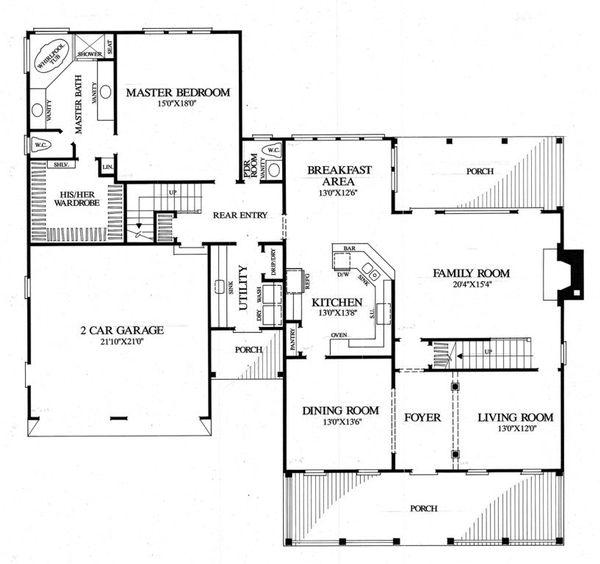 House Plan Design - Southern Floor Plan - Main Floor Plan #137-275